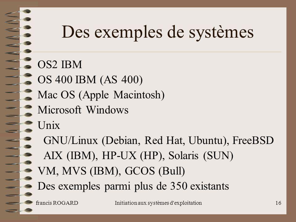 Des exemples de systèmes