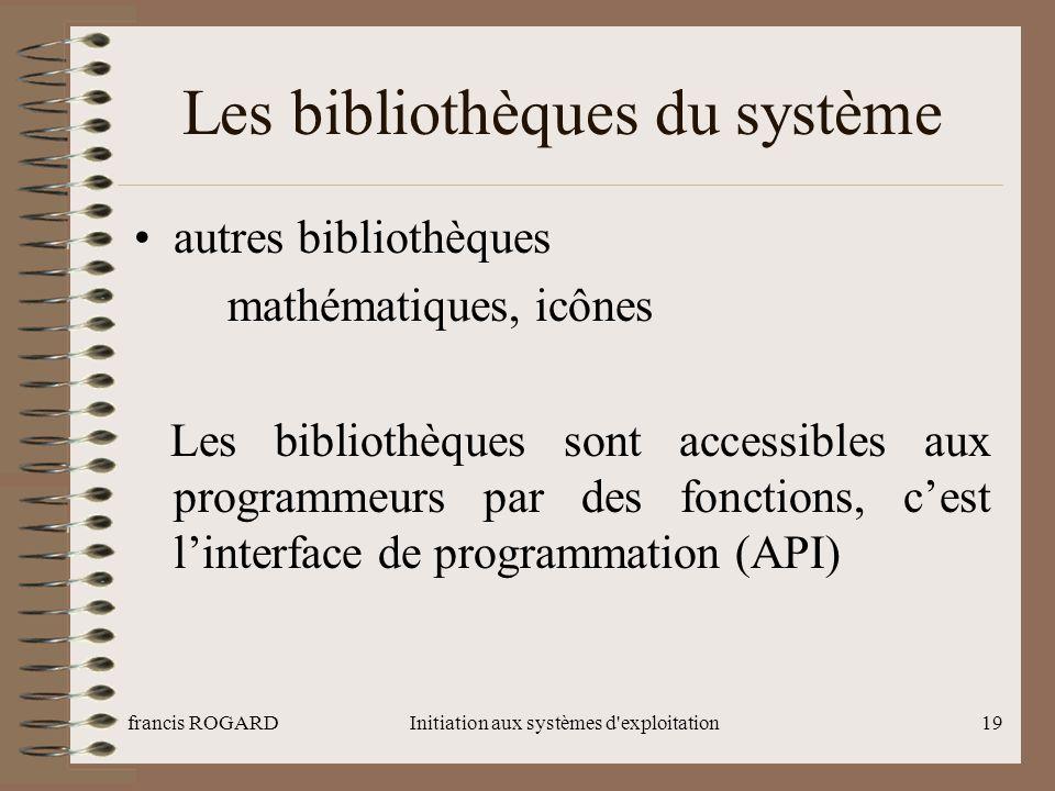Les bibliothèques du système