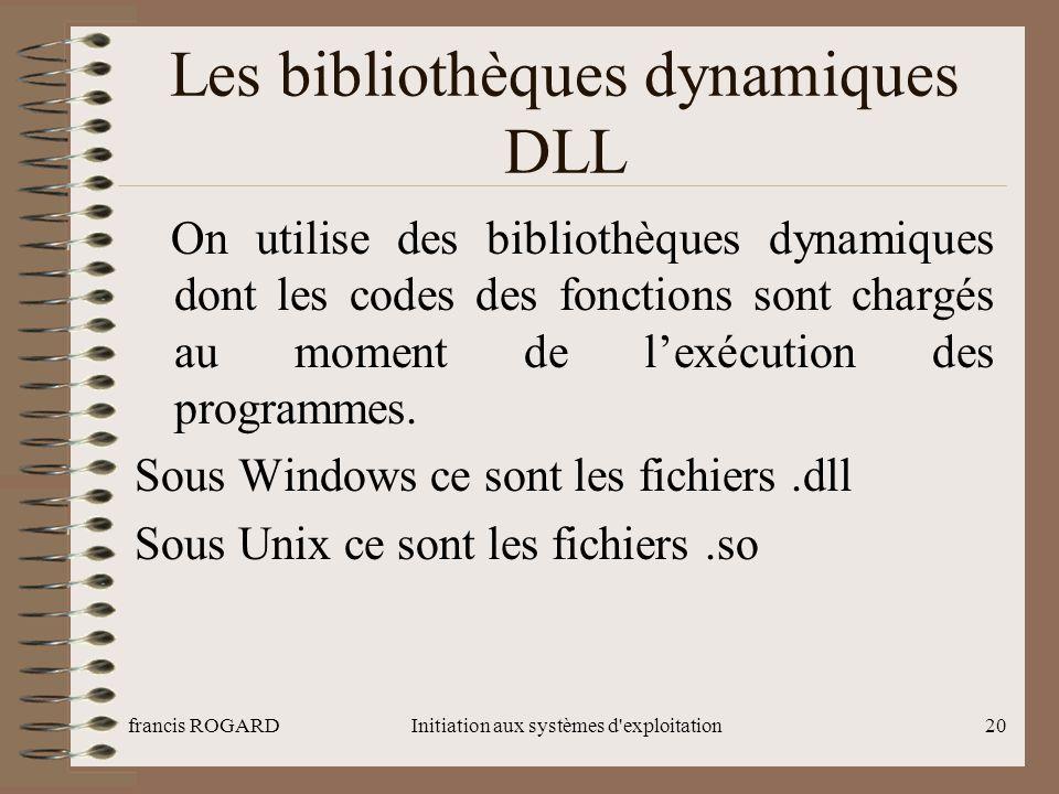 Les bibliothèques dynamiques DLL