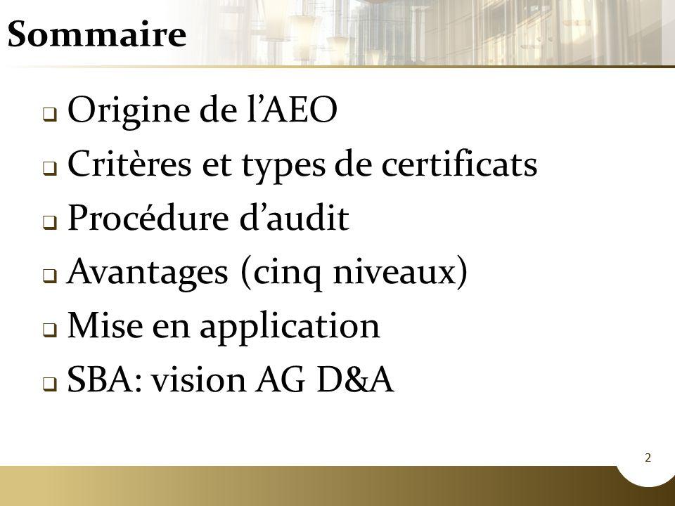 Critères et types de certificats Procédure d'audit