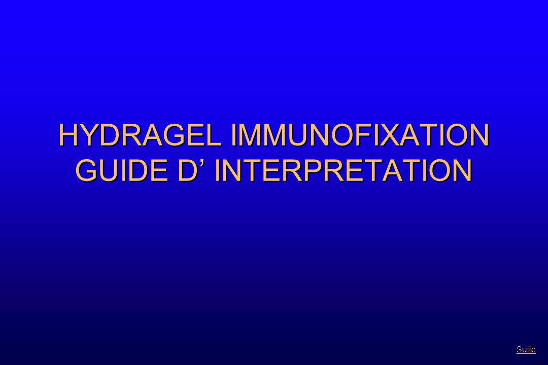 HYDRAGEL IMMUNOFIXATION GUIDE D' INTERPRETATION