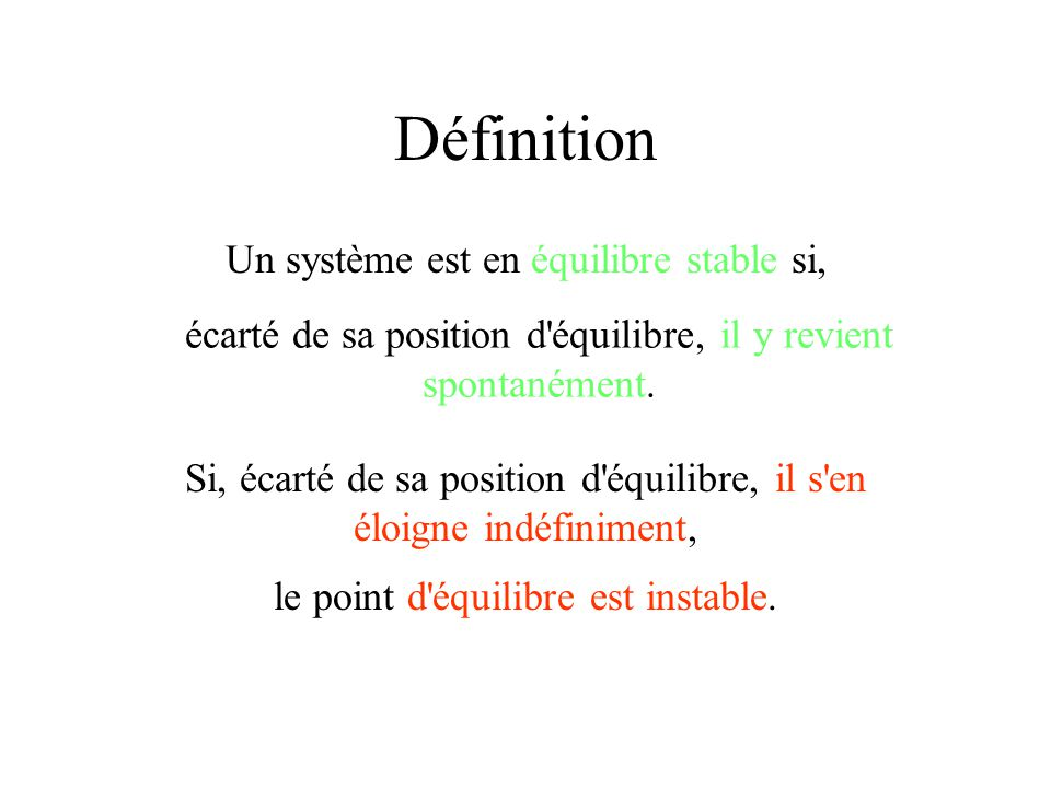 Définition Un système est en équilibre stable si,