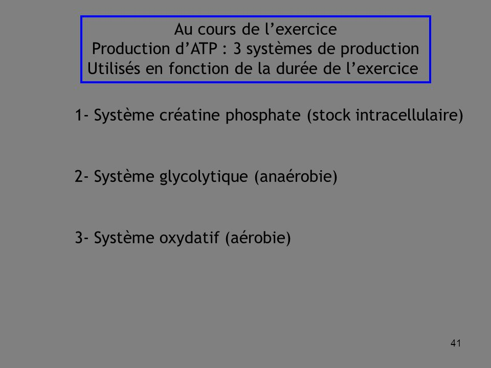 Production d'ATP : 3 systèmes de production