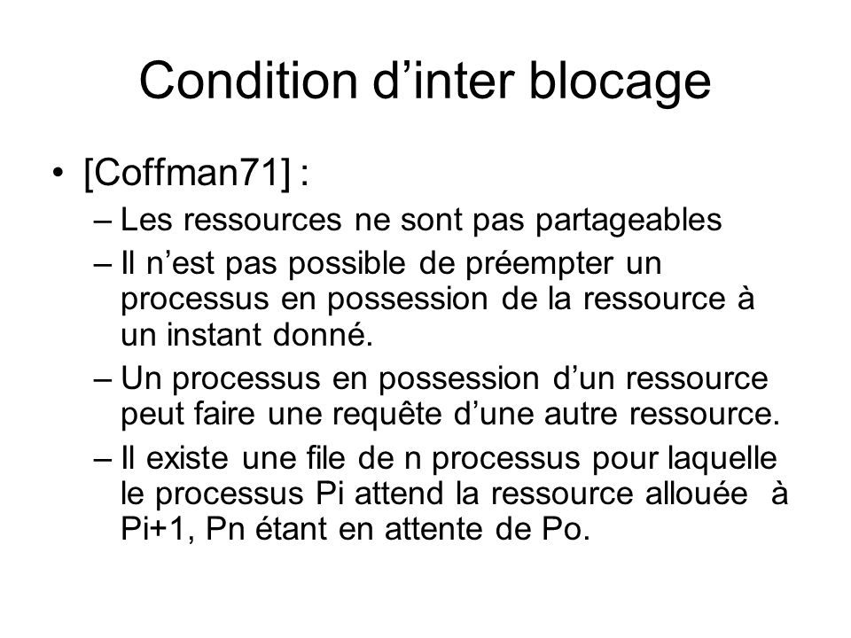 Condition d'inter blocage