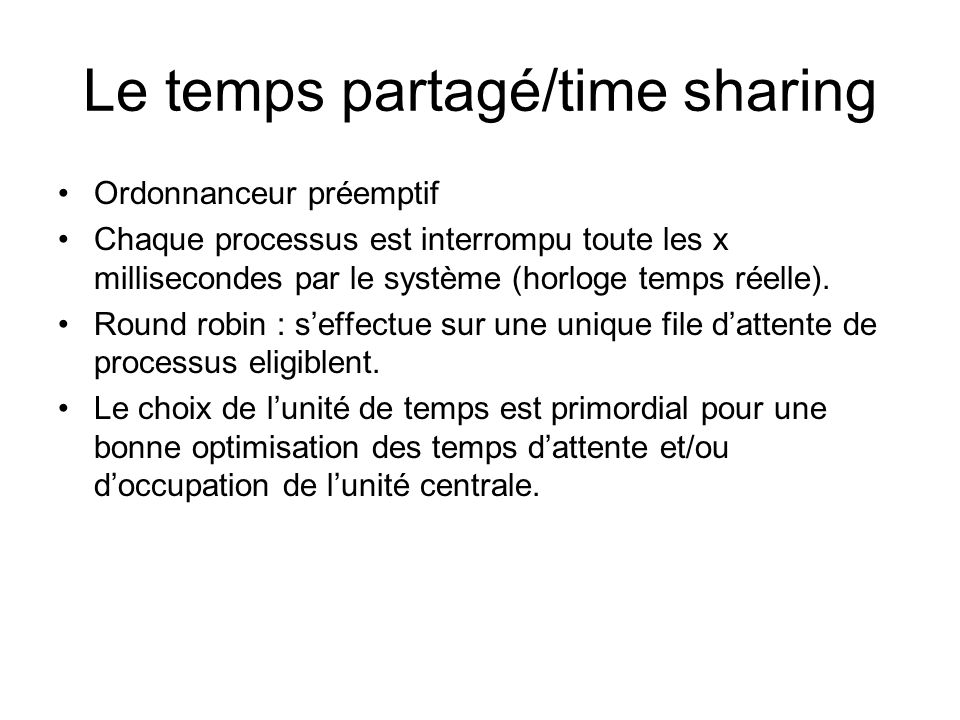 Le temps partagé/time sharing