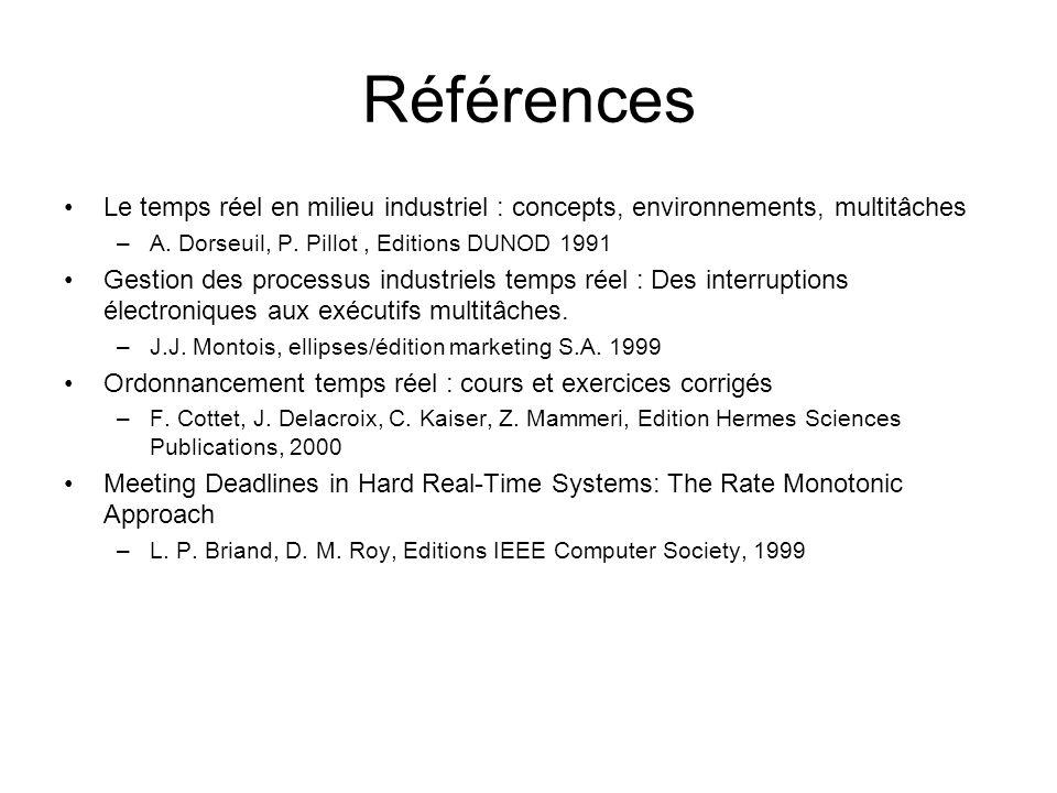 Références Le temps réel en milieu industriel : concepts, environnements, multitâches. A. Dorseuil, P. Pillot , Editions DUNOD 1991.