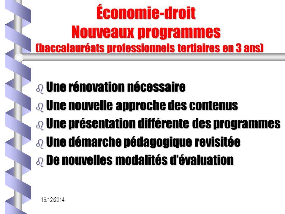 Économie-droit Nouveaux programmes (baccalauréats professionnels tertiaires en 3 ans)
