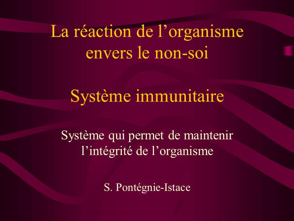 La réaction de l'organisme envers le non-soi Système immunitaire