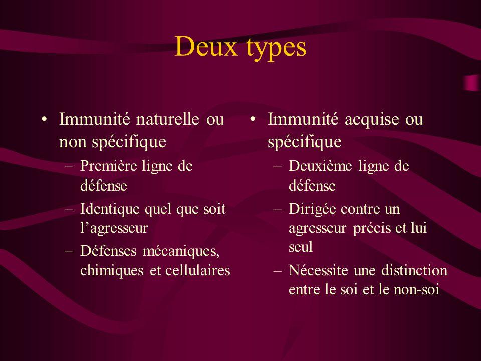 Deux types Immunité naturelle ou non spécifique