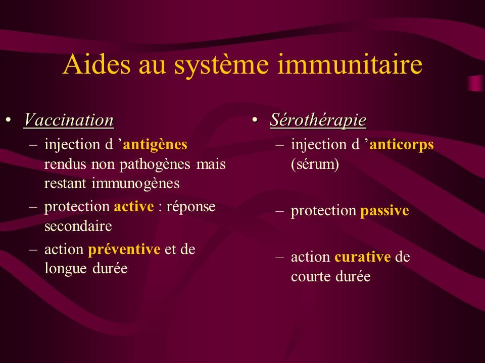 Aides au système immunitaire