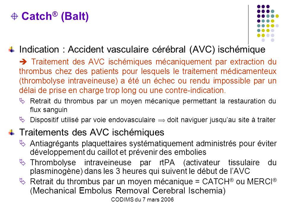Catch® (Balt) Indication : Accident vasculaire cérébral (AVC) ischémique.