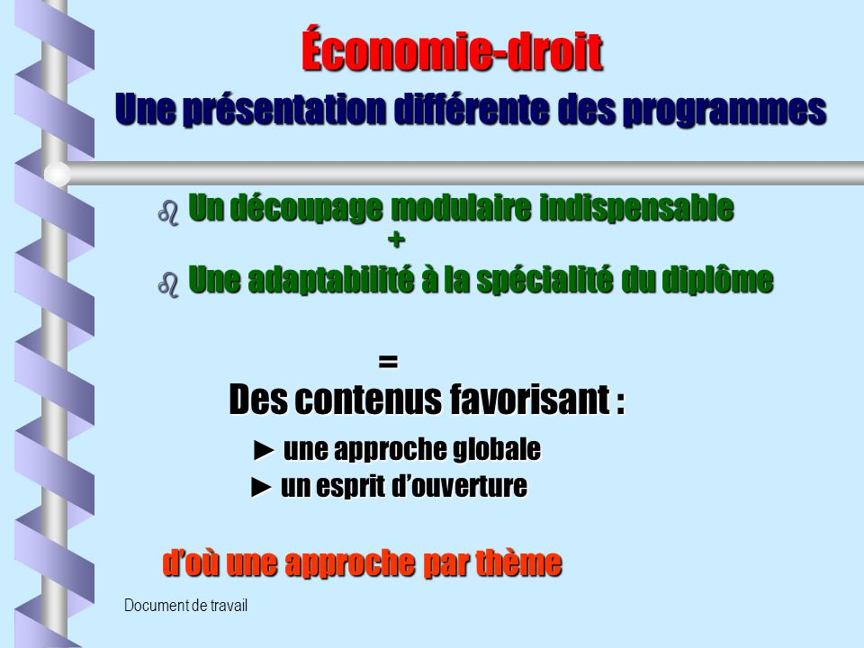 Économie-droit Une présentation différente des programmes