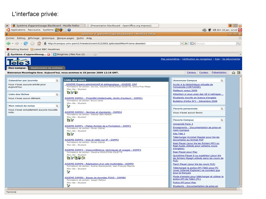 L interface privée: