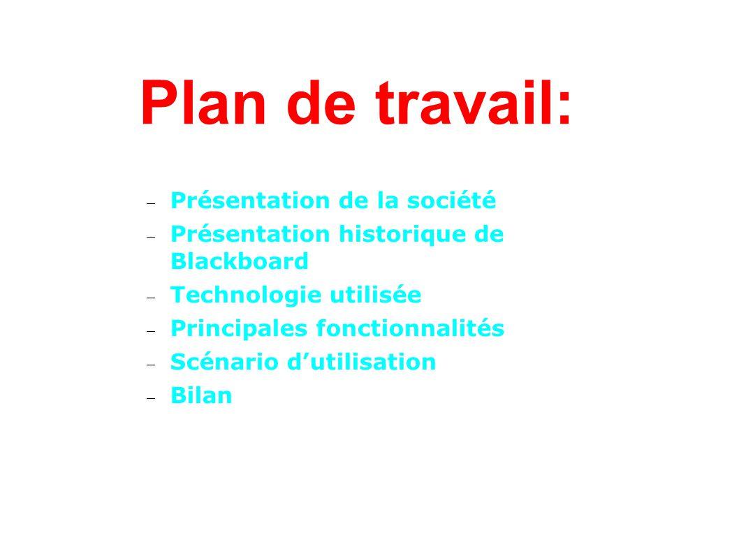 Plan de travail: Présentation de la société