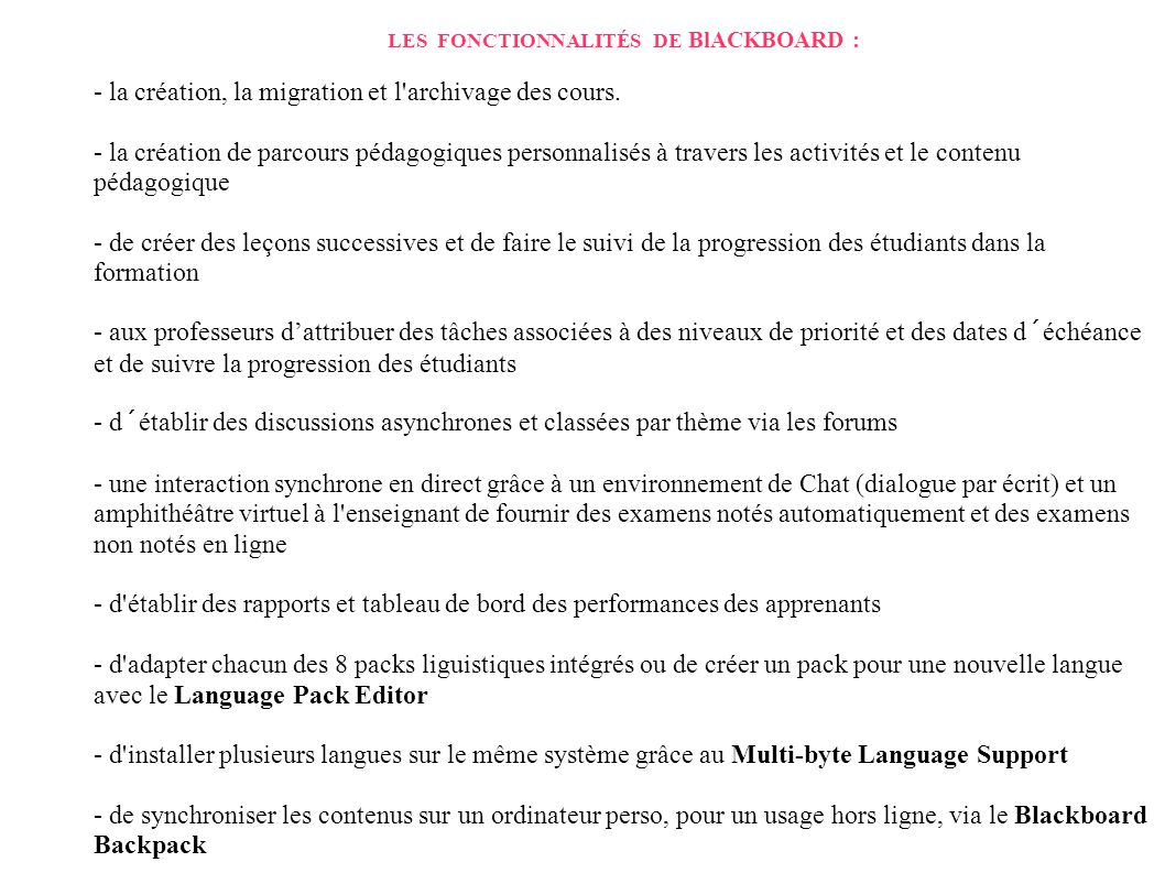 LES FONCTIONNALITÉS DE BlACKBOARD :
