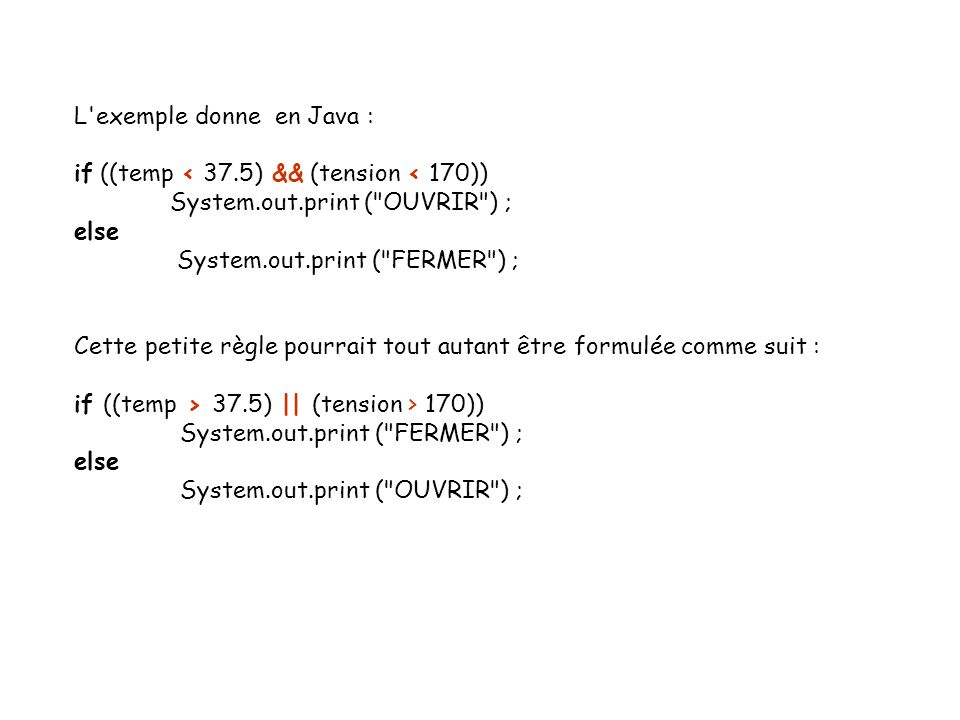 L exemple donne en Java :