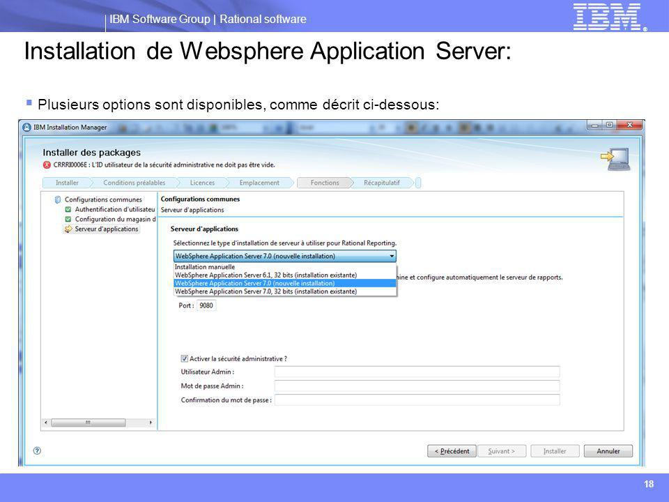 Installation de Websphere Application Server: