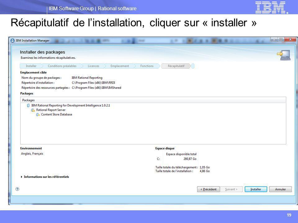 Récapitulatif de l'installation, cliquer sur « installer »