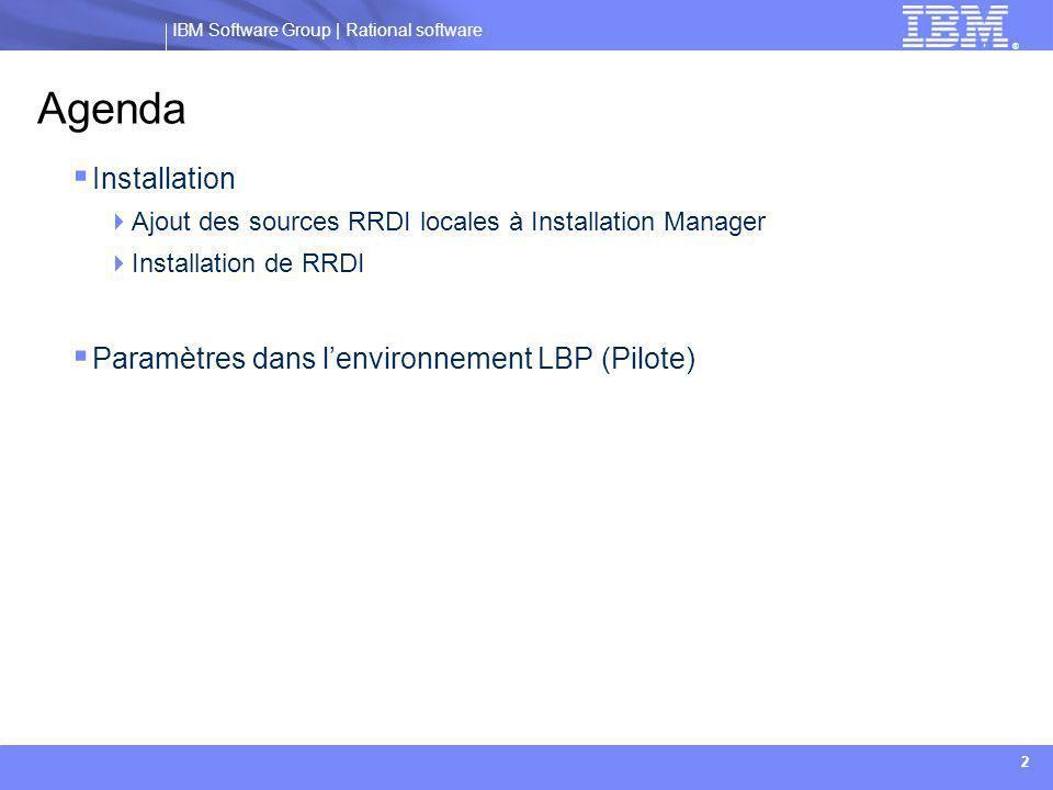 Agenda Installation Paramètres dans l'environnement LBP (Pilote)
