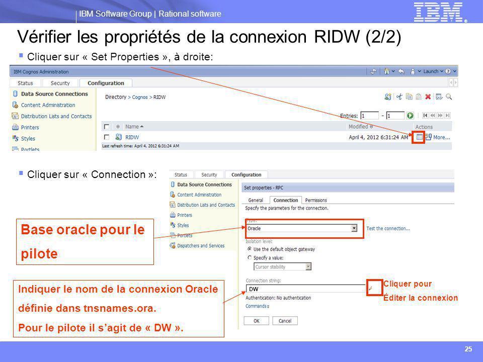 Vérifier les propriétés de la connexion RIDW (2/2)