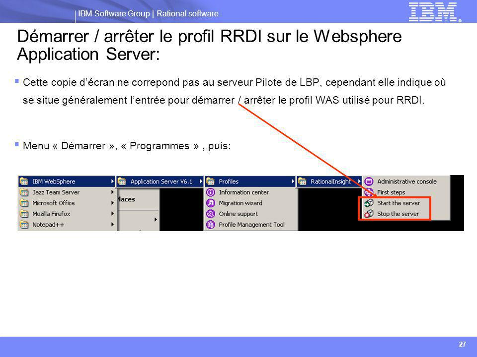 Démarrer / arrêter le profil RRDI sur le Websphere Application Server: