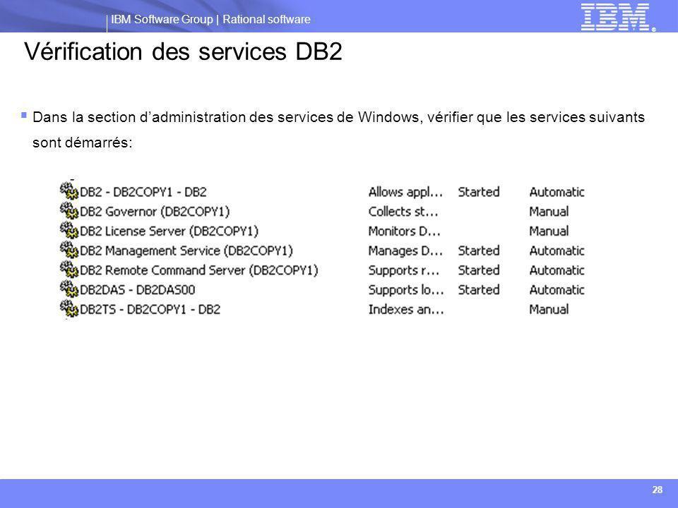 Vérification des services DB2