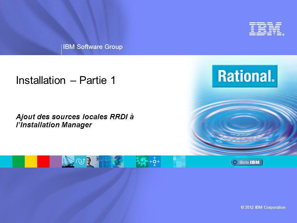 Ajout des sources locales RRDI à l'Installation Manager