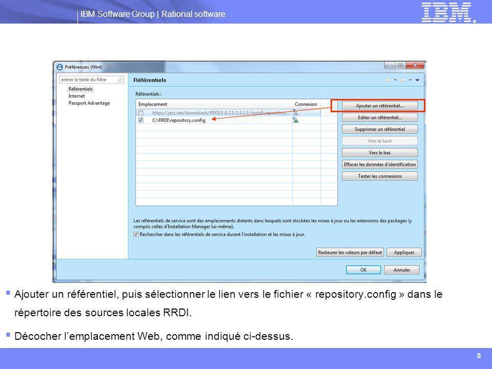 Ajouter un référentiel, puis sélectionner le lien vers le fichier « repository.config » dans le répertoire des sources locales RRDI.