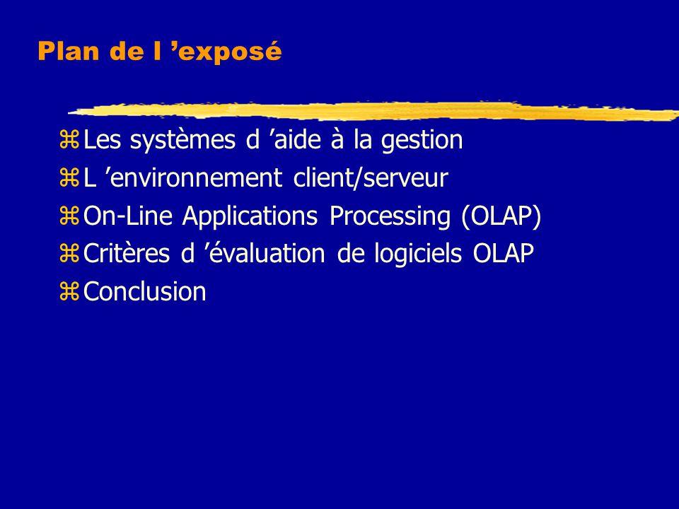 Plan de l 'exposé Les systèmes d 'aide à la gestion. L 'environnement client/serveur. On-Line Applications Processing (OLAP)