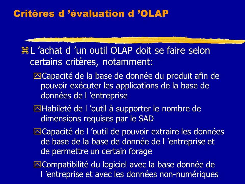 Critères d 'évaluation d 'OLAP