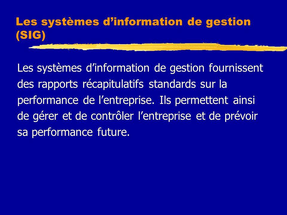 Les systèmes d'information de gestion (SIG)