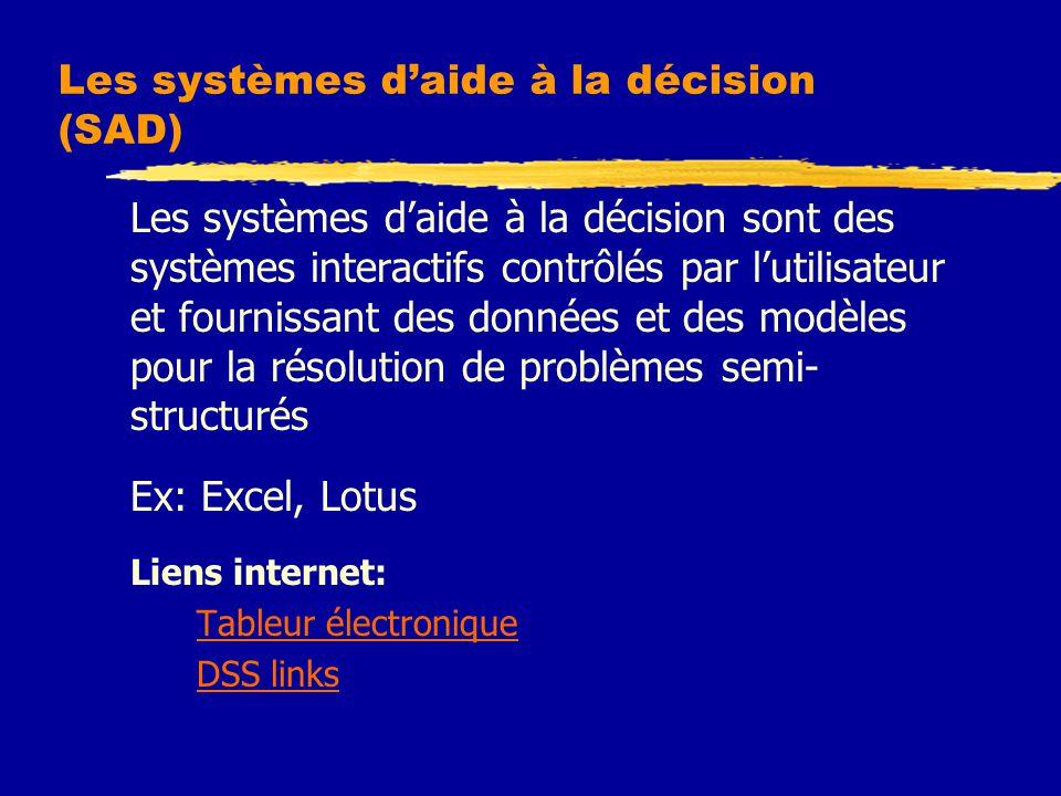 Les systèmes d'aide à la décision (SAD)