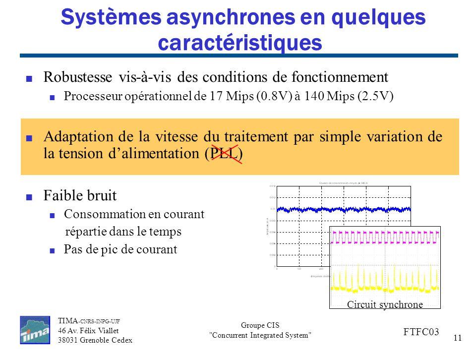 Systèmes asynchrones en quelques caractéristiques