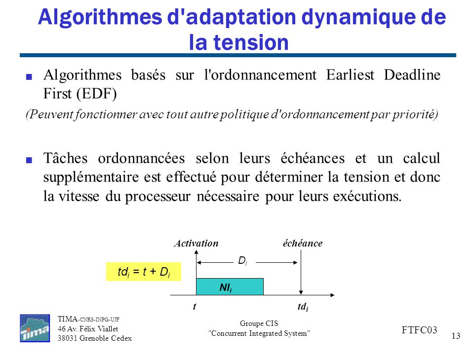 Algorithmes d adaptation dynamique de la tension