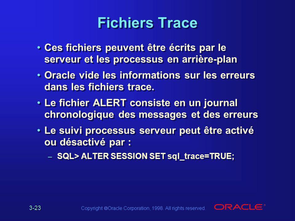 Fichiers Trace Ces fichiers peuvent être écrits par le serveur et les processus en arrière-plan.