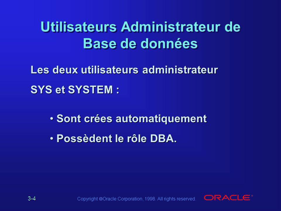 Utilisateurs Administrateur de Base de données