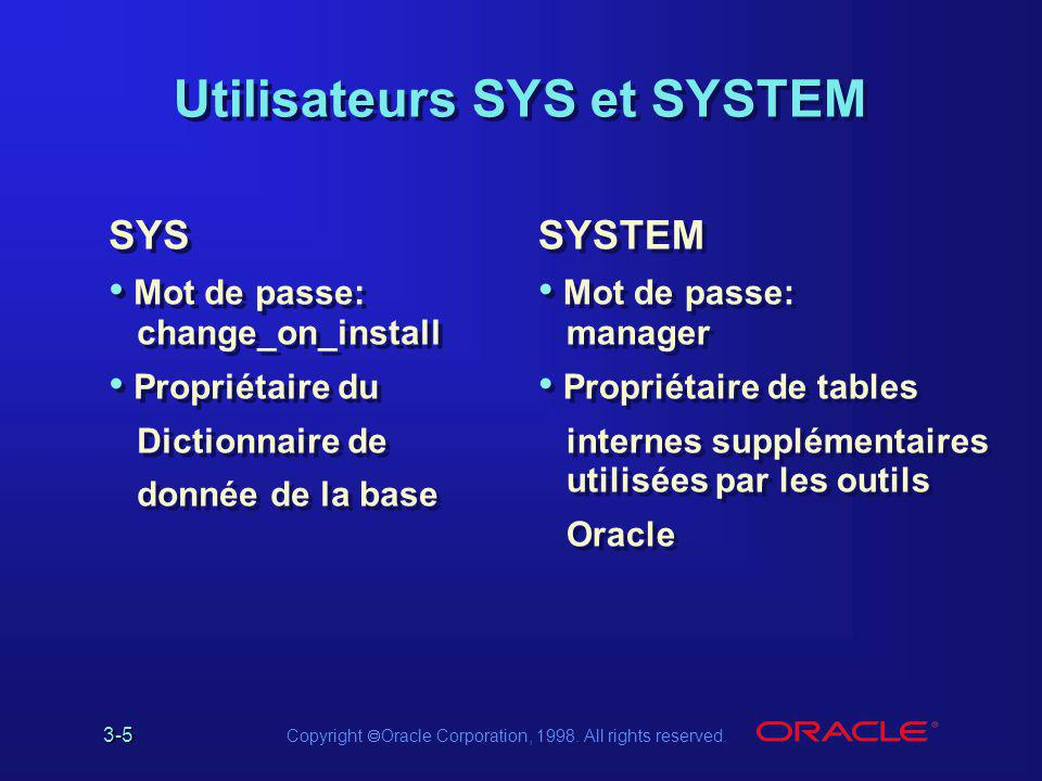 Utilisateurs SYS et SYSTEM