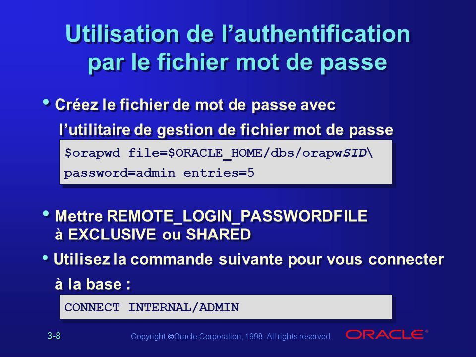 Utilisation de l'authentification par le fichier mot de passe