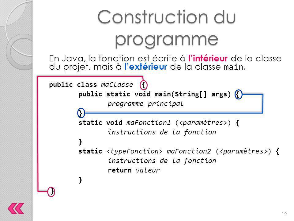Construction du programme