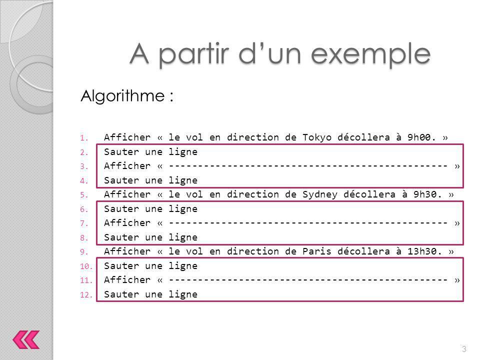 A partir d'un exemple Algorithme :
