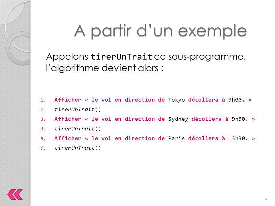 A partir d'un exemple Appelons tirerUnTrait ce sous-programme, l'algorithme devient alors :