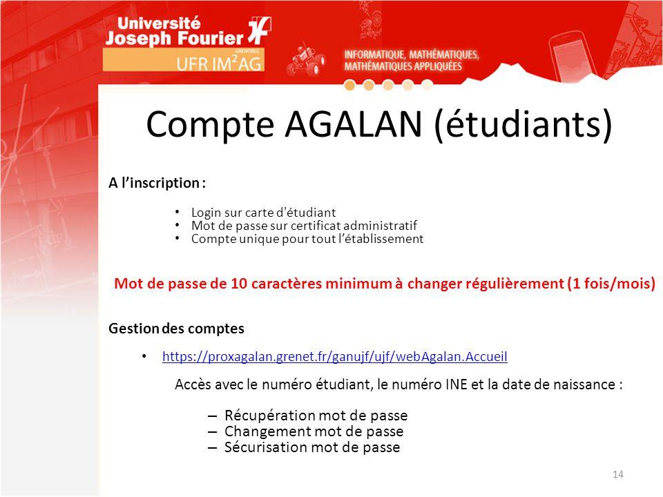 Compte AGALAN (étudiants)