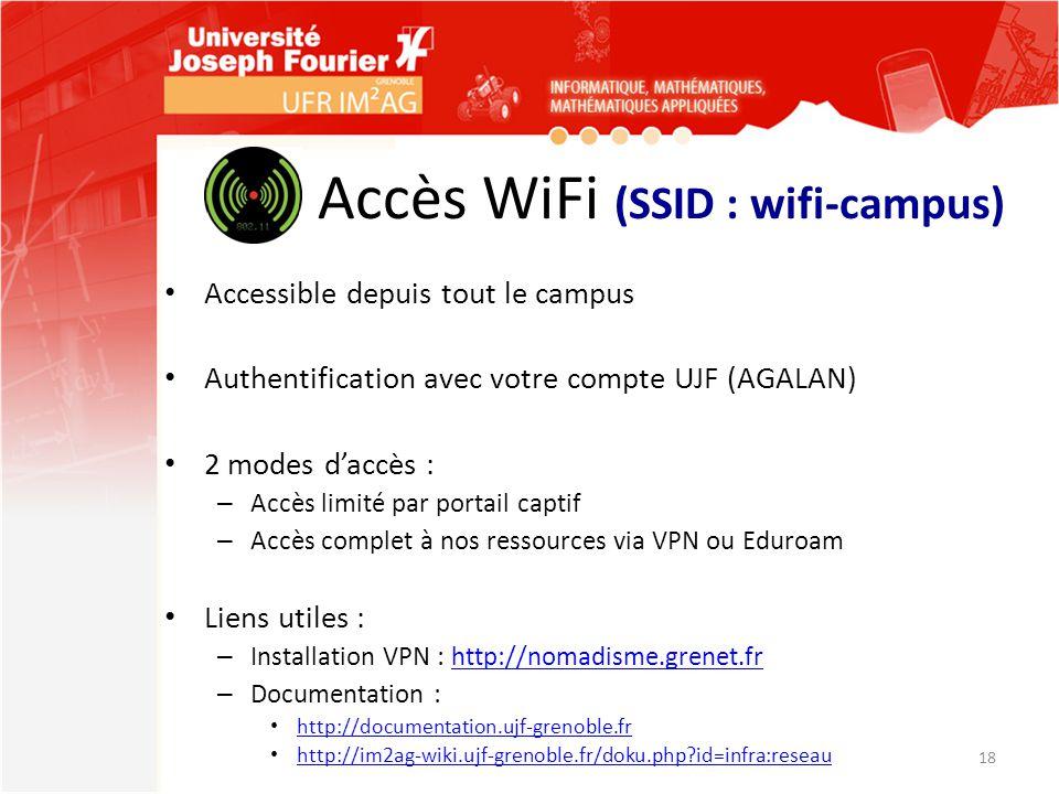 Accès WiFi (SSID : wifi-campus)