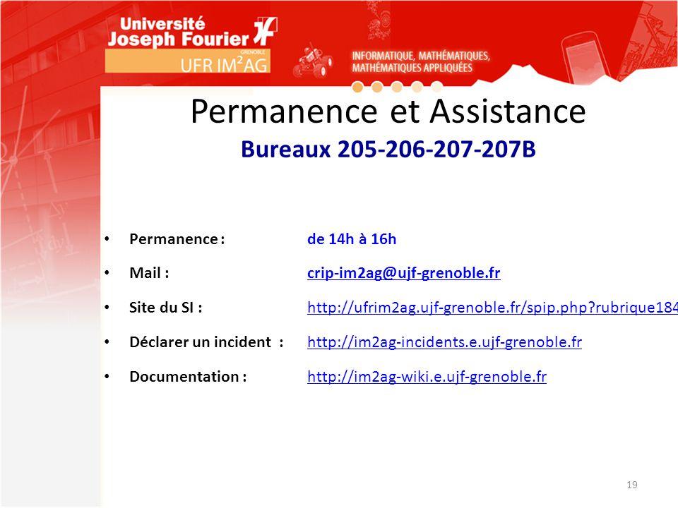 Permanence et Assistance Bureaux 205-206-207-207B