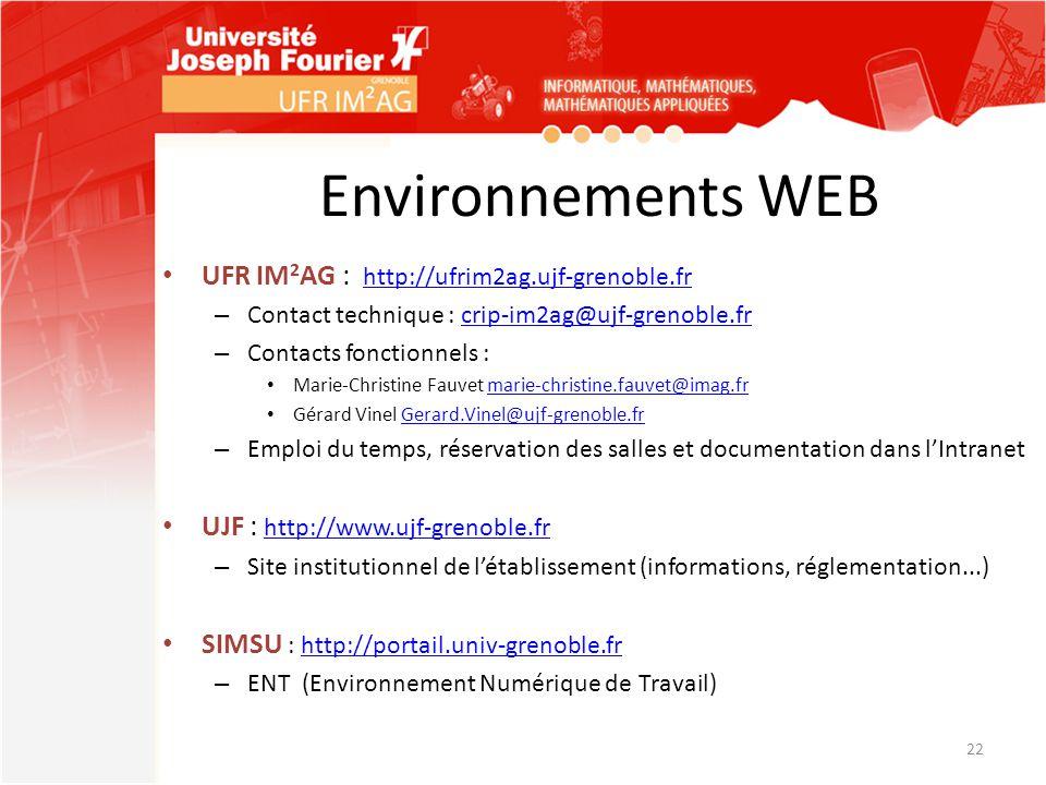 Environnements WEB UFR IM2AG : http://ufrim2ag.ujf-grenoble.fr