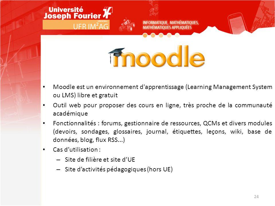 Moodle est un environnement d apprentissage (Learning Management System ou LMS) libre et gratuit