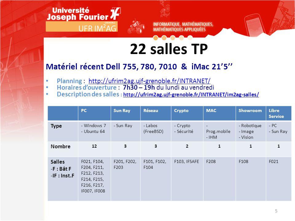 22 salles TP Matériel récent Dell 755, 780, 7010 & iMac 21'5''