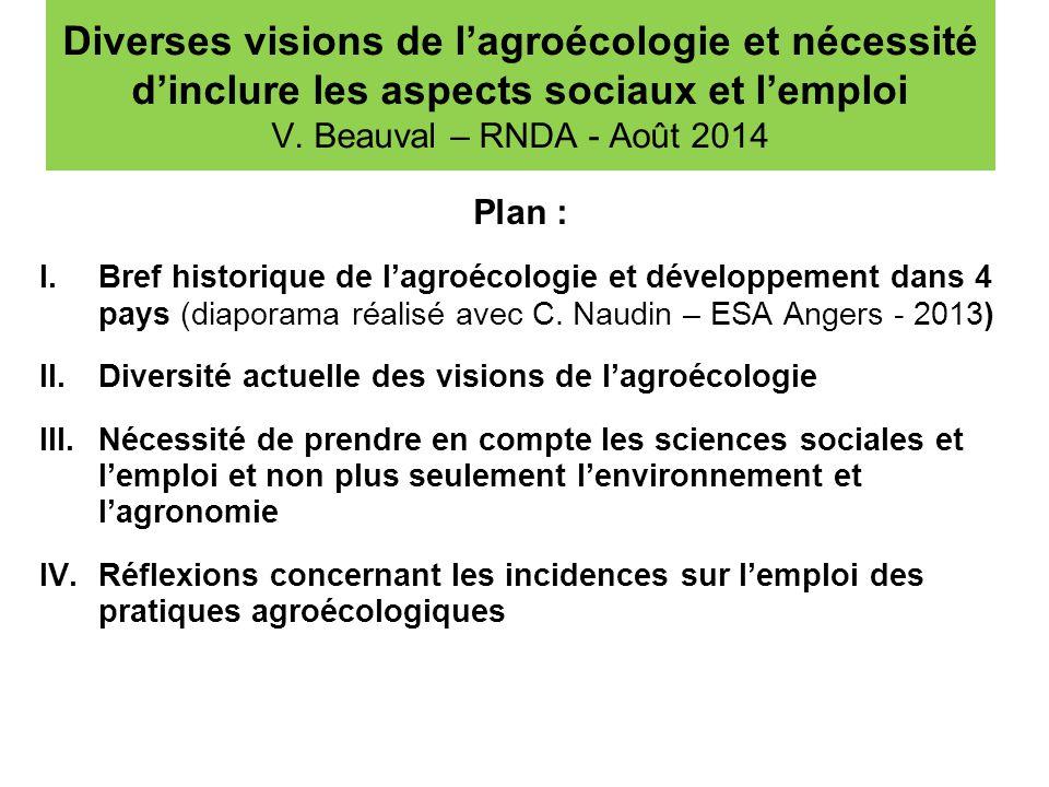 Diverses visions de l'agroécologie et nécessité d'inclure les aspects sociaux et l'emploi V. Beauval – RNDA - Août 2014