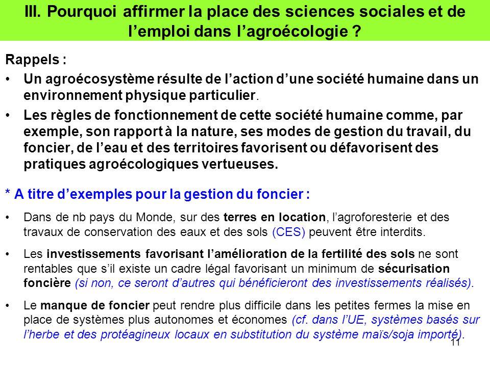 III. Pourquoi affirmer la place des sciences sociales et de l'emploi dans l'agroécologie
