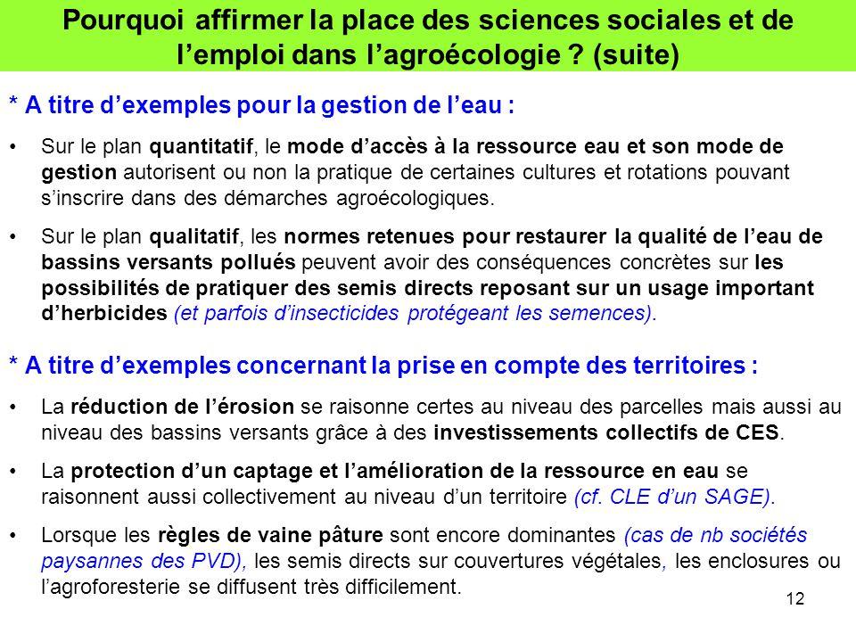 Pourquoi affirmer la place des sciences sociales et de l'emploi dans l'agroécologie (suite)